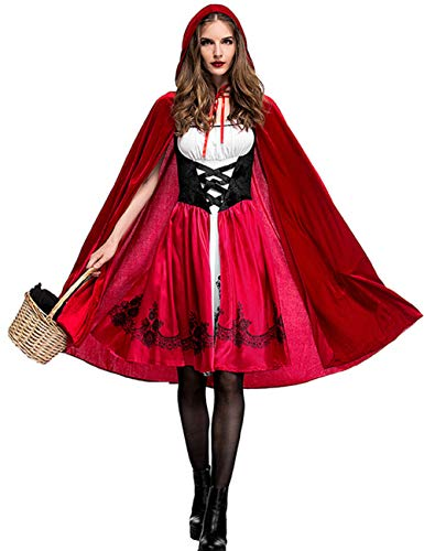 Colorful House Rotes Little Riding Hood Kostüm für Damen, 3-teilig - Rot - (Red Riding Hood Kostüm Plus)