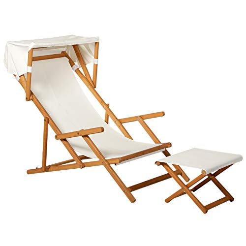 Outsunny Sonnenliege Gartenliege Relaxliege verstellbar Liegestuhl Relaxsessel Gartenmöbel mit Sonnendach Hocker Akazie + Polyester Natur + Weiß 161 x 72 x 68 cm