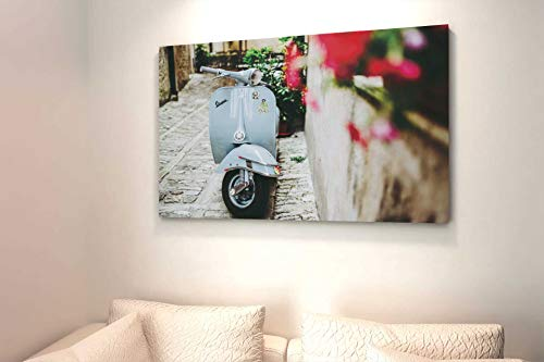 KiarenzaFD Cuadro Vespa Vintage Tela Canvas Moderno Italia Flores Motociclo Ciudad, KCA01867-70x50-cm, 70x50 cm