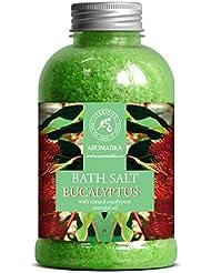 Sel de Bain Eucalyptus 600g - Sel Marin avec Huile Essentielle D'Eucalyptus Essentielle - Meilleur pour un Bon Sommeil - Soulagement du Stress - Soin du Corps - Détente