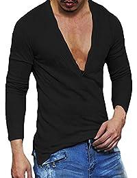 FNKDOR Casual Slim Fit V profond hommes cou d'été à manches longues T-shirt de base-shirt