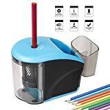 Pencil Sharpeners – Electric Pencil Sharpener with Container Battery Operated or with USB - Gift for Kids, Students, Artist (Batteries not Included) (Blue 1 Hole)