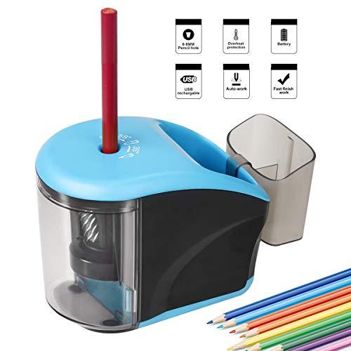 Sacapuntas eléctrico contenedor pilas USB, ideal
