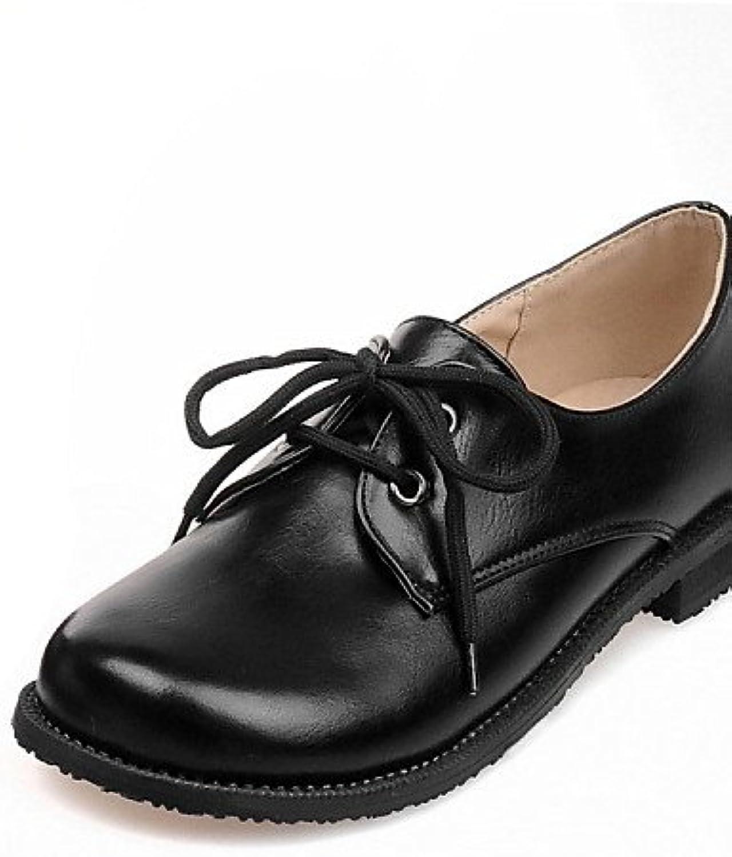 ZQ hug Zapatos de mujer - Tacón Plano - Comfort / Punta Redonda - Oxfords - Exterior / Casual - Semicuero - Negro...
