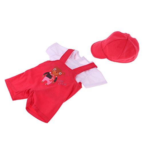 Homyl Puppen T-Shirt, Hosenträger Hose und Kappe Kleidung Satz Für 43-45 cm Puppen (3er-Set) - Rot (Reise-set Generation-puppe, Unsere)