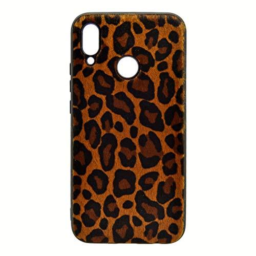 Todo Phone Store - Funda Hibrida Leopardo Manchas Huellas Pelo Sintetico Premium Silicona Marron Oscuro Gel TPU para Huawei P20 Lite