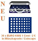 SAFE ALU MÜNZKOFFER 268 - 185 - 36 x KOMPLETTE EURO KURSMÜNZENSÄTZE KMS 1 CENT - 2 EUROMÜNZEN IN MÜNZKAPSELN / CAPS ----- mit 6 Tableaus Nr. 185 -------- Ideal für Euro Jahrgangssätze 1 , 2 , 5 , 10 , 20 , 50 Cent , 1 , 2 Euromünzen in Coincaps