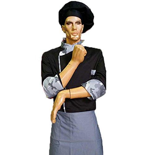 Anzug für Koch, Tarnfarbe, mit Hose mit Nadelstreifen, Jacke, Schürze und Hut Schwarz  XXL - Schwarz Nadelstreifen Hosen-anzug