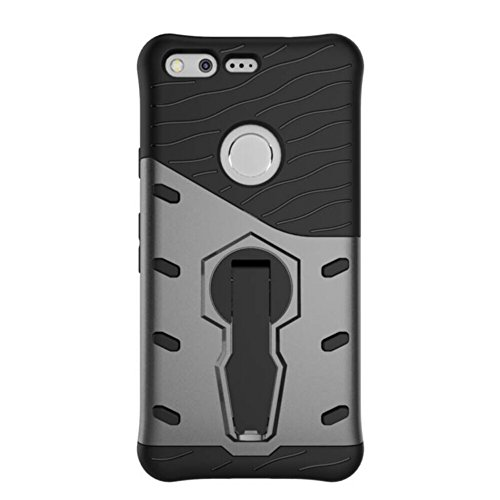 Für Google Pixel 5.0 Zoll Armor Cover, 2 In 1 Durable TPU + PC Heavy Duty 360 ° Drehen Stand Dual Layer Shockproof Case Cover ( Color : Gold ) Silver