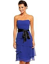 Chiffon Kleid im Stufen-Look mit Schleife, Cocktailkleid Abendkleid kurz in verschiedenen Farben