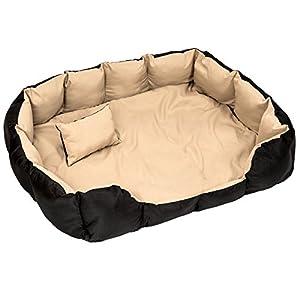 TecTake Lit douillet pour chiens panier corbeille couchage XXL noir/beige