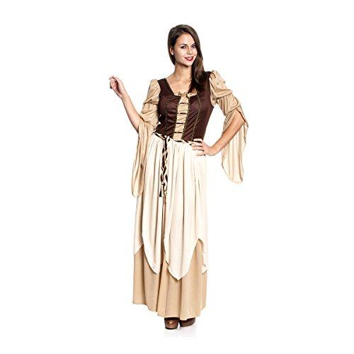 Kostümplanet® Mittelalter Kleidung Damen Kostüm mittelalterliches Kleid Gewand + Tasche Damen-Kostüm braun 3-teilig - Mittelalter Kostüm