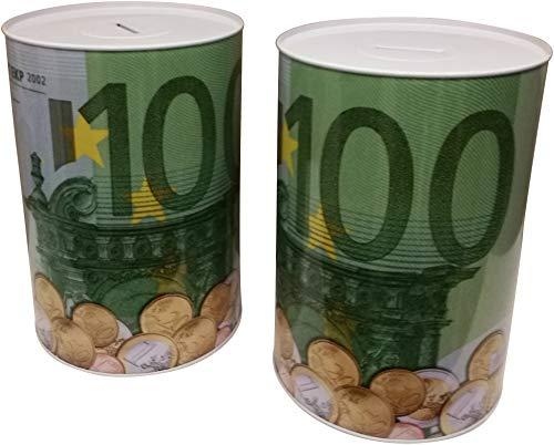 GW Handels UG 2er Set XXL Spardose 100 Euro Blechdose Metall Spardose 22 cm x 15 cm Sparschwein Geburtstag -