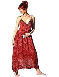 Kleid Trägerkleid Maxikleid Abendkleid Sommerkleid Strandkleid Kleider Ärmellos Ethno Goa Amanita