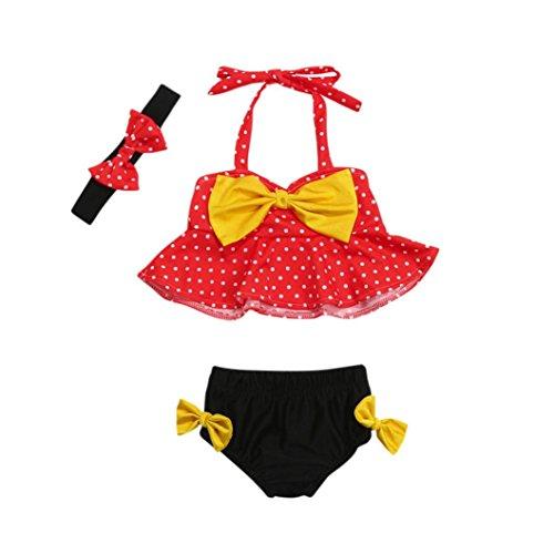 Mädchen Bademode Straps Dot Badeanzug Bade Bikini Set Outfits (6M, rot) (Disney Kinder Outfits)