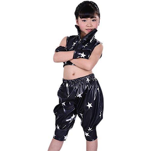 ngen Zweiteilig Jazz Hip Hop Kostüm Jacke & Hosen Moderne Performance Kleid Dancewear, Licht Schwarz, EU 130=Tag140 (Hip Hop Tanz Kostüm Für Jungen)