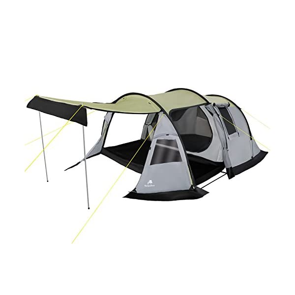 CampFeuer - Tunnel-Tent, 3-Person Camping Tent, Grey, 3,000mm Hydrostatic Head 1