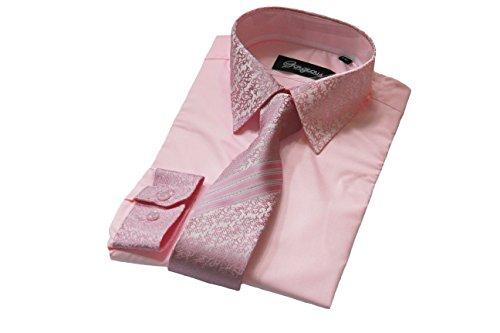Elegantes Hemd für Jungen, gemusterte Krawatte mit passenden Manschetten, für besondere Anlässe Gr. 11-12 Jahre, rose