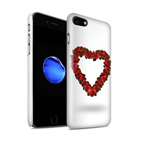 STUFF4 Glanz Snap-On Hülle / Case für Apple iPhone 8 / Rote Rose/Blätter Muster / Valentine Herz Kollektion Rote Rose/Blätter