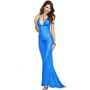 Wiftly Damen Lingerie Sexy erotik Tief V Tüll Spitze Transparent Push Up mit G-String reizwäsche langes Kleid Robe