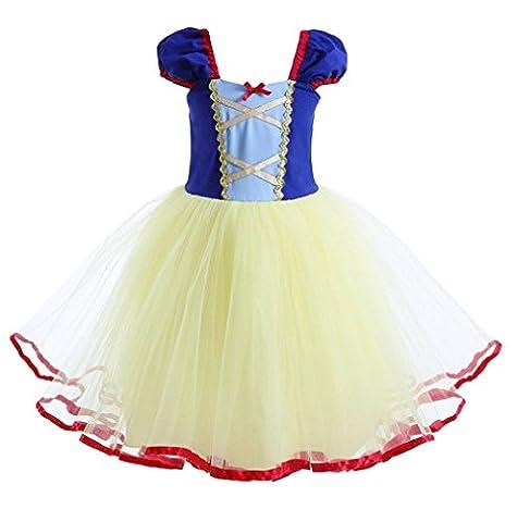 Das beste Mädchen kurzarm Prinzessin Kleid Schneewittchen Puffärmel Musselin Falten Kostüme Halloween (Amazon Halloween-kostüme Für Kinder)