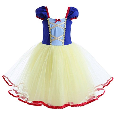 Teure Kostüme (Das beste Mädchen kurzarm Prinzessin Kleid Schneewittchen Puffärmel Musselin Falten Kostüme Halloween)
