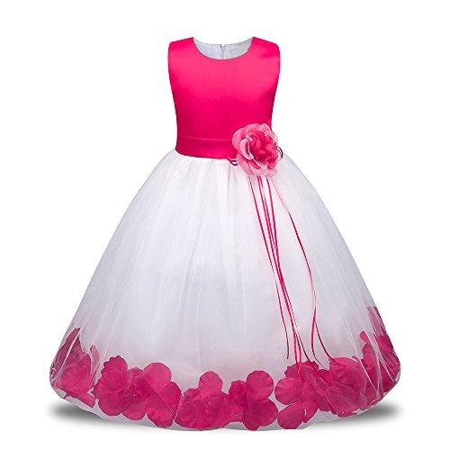 Weihnachten Kleinkind Baby Mädchen Geburtstag Prinzessin Kleid Blumenmaedchenkleid Blumen Formal Hochzeit Party Kleider Brautjungfer Pageant Outfits Kleidung Lonshell (12M / 80, Rosa 2)