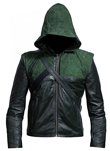 e Genius Stephen Amell Green Arrow Hooded Leather Jacket