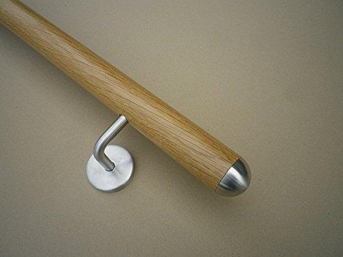 Eiche Handlauf mit Edelstahl-Halbkugel in verschiedenen Längen (300cm 4 Edelstahl-Halter)