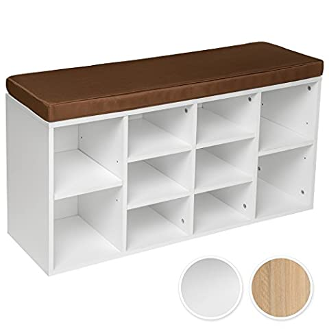 TecTake Shoe cabinet rack storage with seat combination 103,5x48x30cm white