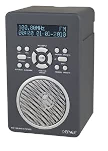 DENVER DAB-43PLUS GREY Portable Digital Radio Alarm System AUX MP3