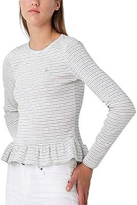 Scalpers Camiseta Rayas Lurex Volante - White/S