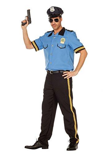 Herren Kostüm Polizistin - Polizei Kostüm Herren Blau Schwarz Polizei-Hemd Hose Polizei-Uniform Police Polizist Polizistin Karneval Fasching Hochwertige Verkleidung Fastnacht Größe 60 Blau