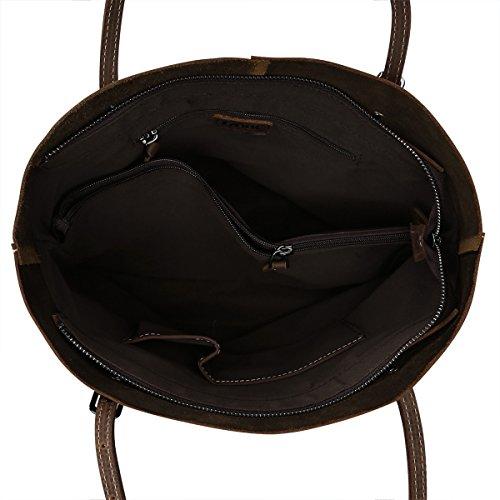 S-ZONE Borsa della borsa del sacchetto di spalla di Tote del cuoio pazzesco dell'annata grande grande capacit¨¤ Marrone chiaro