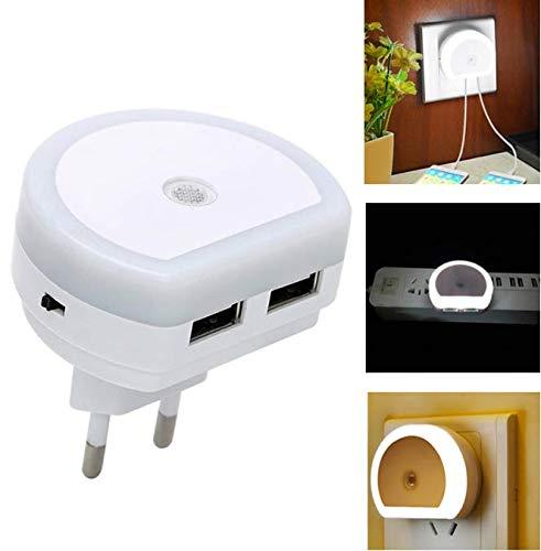 Led-nachtlicht mit dual usb port telefon ladegerät wandstecker licht sensor steuerbuchse tag und nacht sensor wandleuchte - Telefon-ports