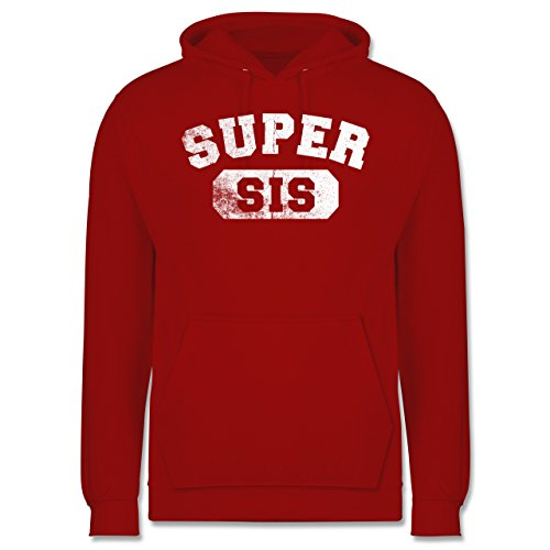 Statement Shirts - Super Sis - Vintage-&Collegestil - Männer Premium Kapuzenpullover / Hoodie Rot