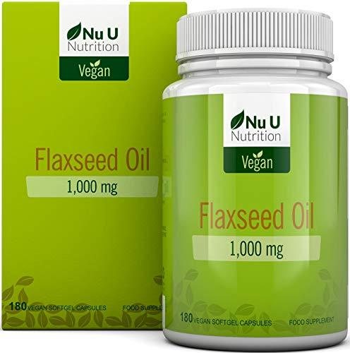 Olio di Semi di Lino 1.000 mg Vegan Pressato a Freddo | 180 Capsule Softgel - Fornitura Per 3 Mesi | Ricco di Omega 3, 6 e 9 | Prodotto nel Regno Unito da Nu U Nutritio