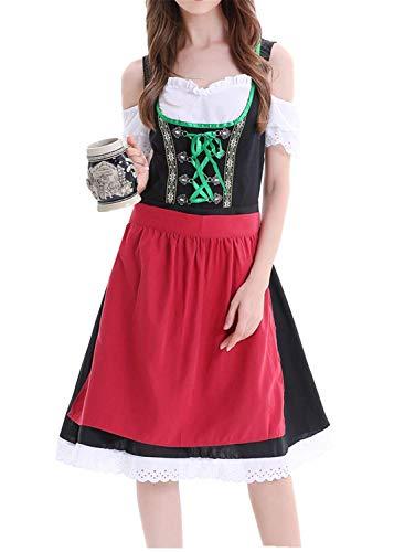 Hand Kostüm Second - Watopi Frauen große größe Dress bayerischen Bier Festival Dirndl-Kleid Cosplay kostüm Tracht Kleid Kleid (1 stück Dress + 1x schürze)