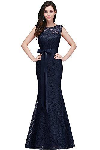 2017 Elegant Abendkleid Brautjungfer Cocktailkleid Meerjungfrau kleid Mit Satin Gurtel Navyblau Gr.40 (Meerjungfrau-kleid Für Frauen)