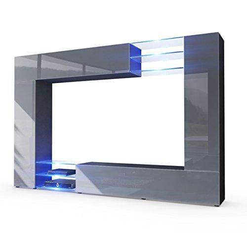 Wohnwand grau -  inkl. LED Beleuchtung