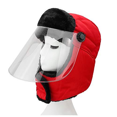 LIXUE Flamme Rouge Chaud Chapeau Femme Épais Transparent Masque Équitation Vélo Chaud Chapeau Duveteux Protection Oreille Imperméable Cap Vent