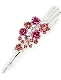 Tamaño mediano rosa cristal, Triple rosa pelo pico Clip/Concord/Alligator Clip en tono plata–75mm L