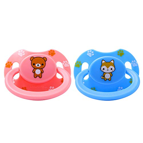 LittleForBig Erwachsene Größe Schnuller Dummy für ADULT BABY ABDL Gedruckte Set-Rosa Teddybär und Blau (Erwachsene Größe Teddybären)