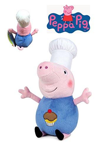 Peppa Pig - Peluche George disfrazado de cocinero 20cm - Calidad super soft