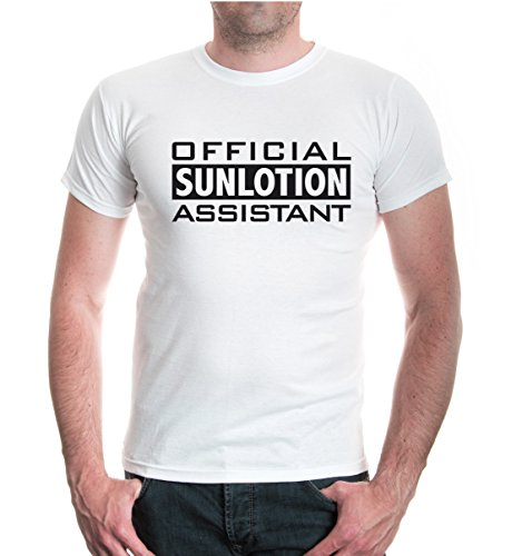 buXsbaum® T-Shirt OFFICIAL SUNLOTION ASSISTANT White-Black