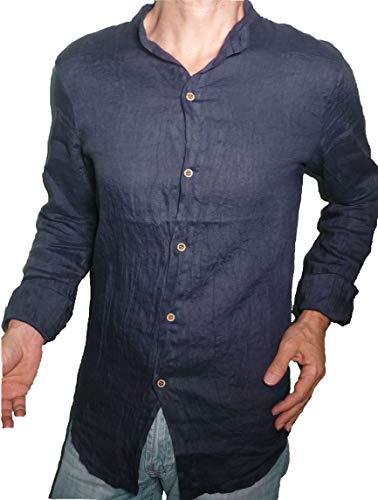Fantasy camicia puro lino taglio avvitato slim collo coreana manica lunga leggera fresca estiva uomo ragazzo (xxl 50 it uomo vita 98-100, blu)