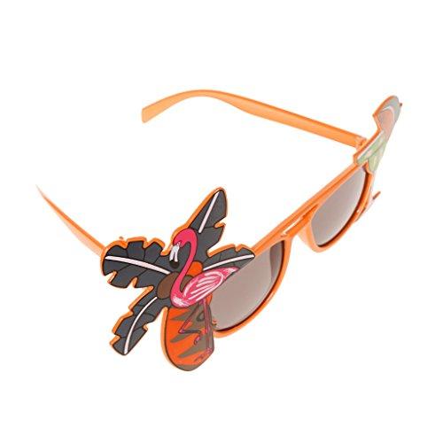 Flamingo Cocktail Hawaiische Sonnenbrille Fancy Dress Spaßbrillen Brille Kostüm - Orange, (Cocktail Fancy Dress Kostüm)