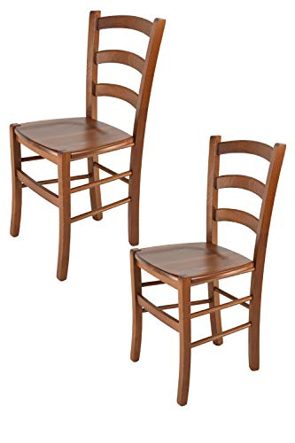Tommychairs - Set 2 Sedie Modello Venice per Cucina e Sala da Pranzo, con Robusta Struttura in Legno di faggio Verniciata Color Noce Chiaro e con Seduta in Legno massello