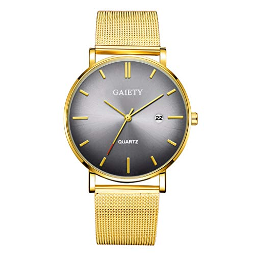 Quartz Uhren für Herren, Skxinn Herrenuhren,Männer Business Fashion Modisch Analoge Armbanduhren mit Edelstahl Mesh-Gürtelband, Ausverkauf(F)
