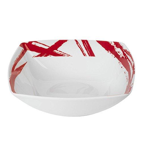 Lot de 6 assiettes creuses carrées EXPRESSION rouges 18 cm